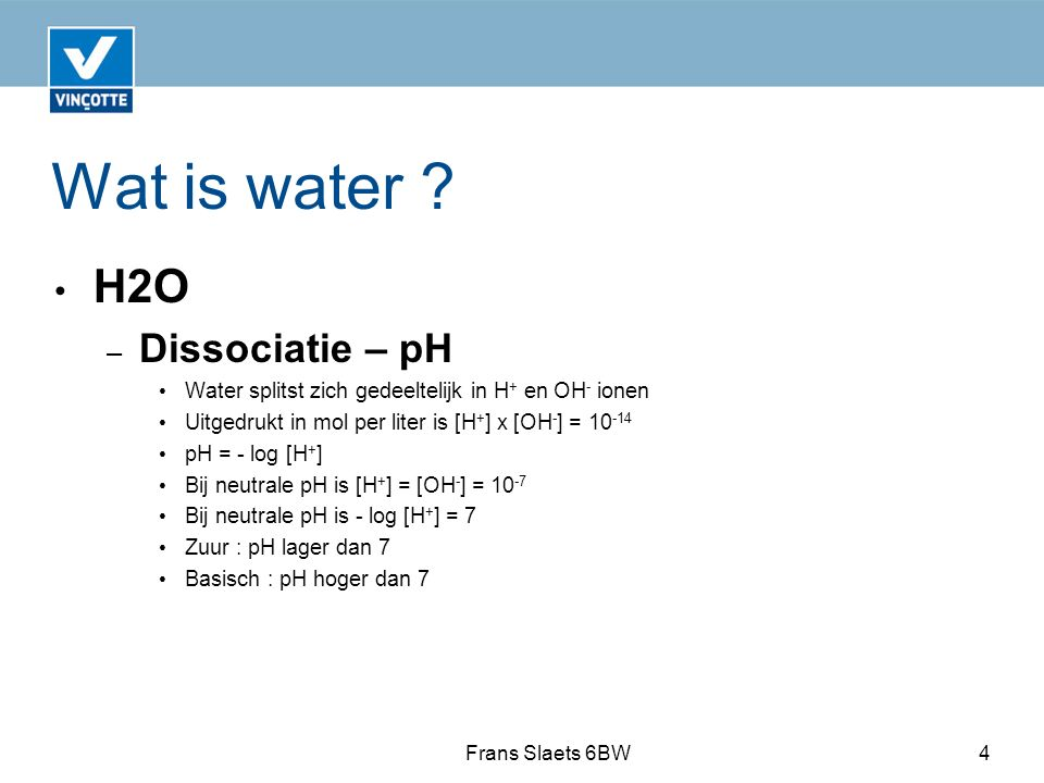 Wat is water H2O Dissociatie – pH