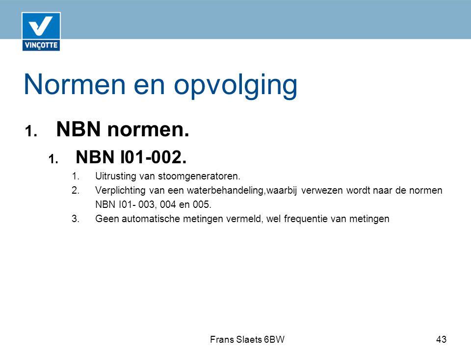 Normen en opvolging NBN normen. NBN I01-002.