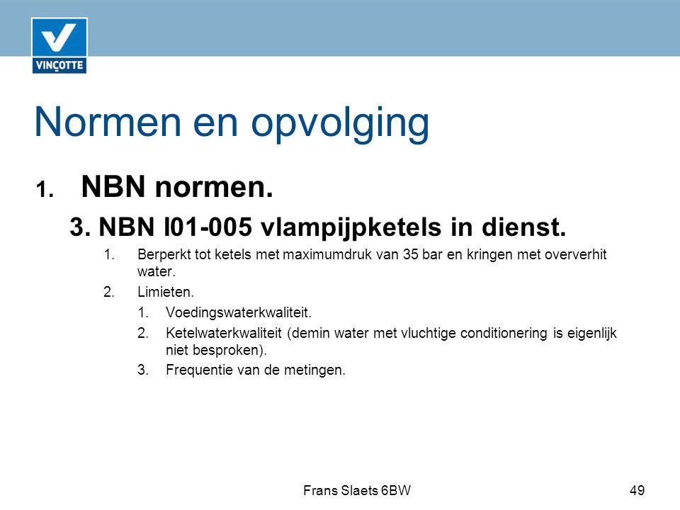 Normen en opvolging NBN normen.