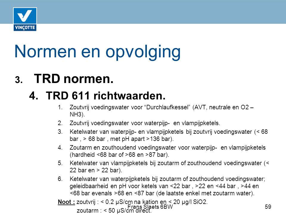 Normen en opvolging TRD normen. 4. TRD 611 richtwaarden.