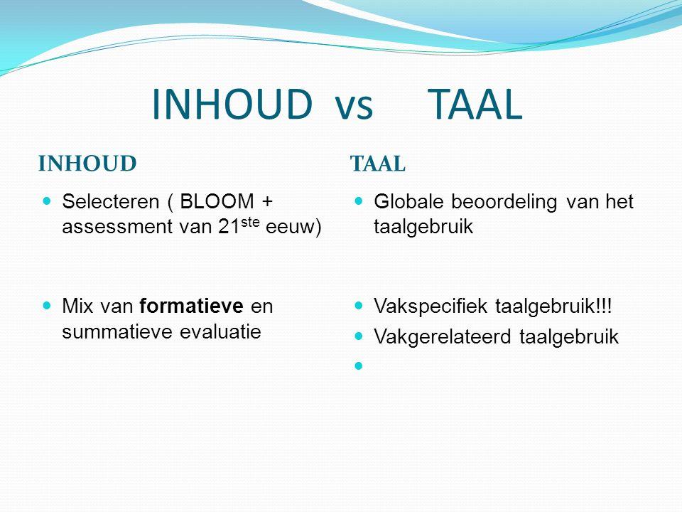 INHOUD vs TAAL INHOUD TAAL