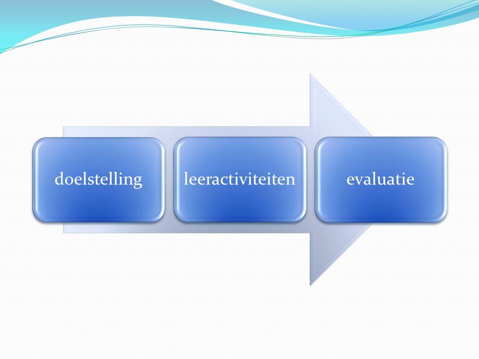 doelstelling leeractiviteiten evaluatie
