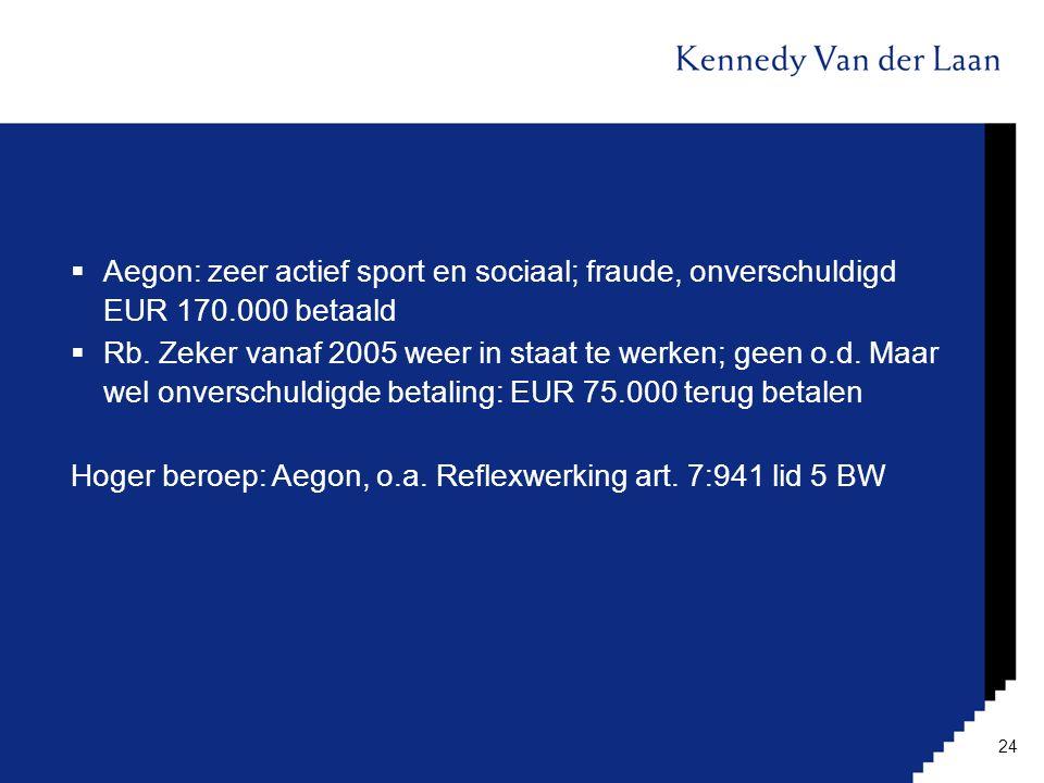 Aegon: zeer actief sport en sociaal; fraude, onverschuldigd EUR 170