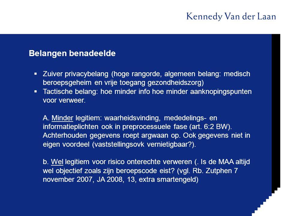 Belangen benadeelde Zuiver privacybelang (hoge rangorde, algemeen belang: medisch beroepsgeheim en vrije toegang gezondheidszorg)