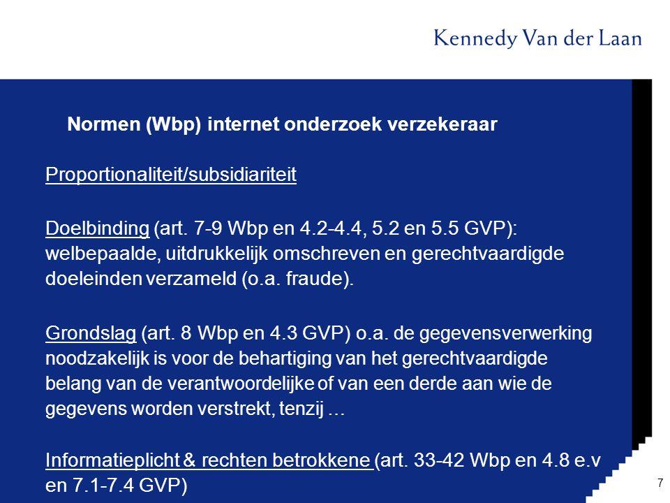 Normen (Wbp) internet onderzoek verzekeraar
