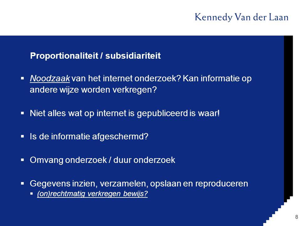 Proportionaliteit / subsidiariteit