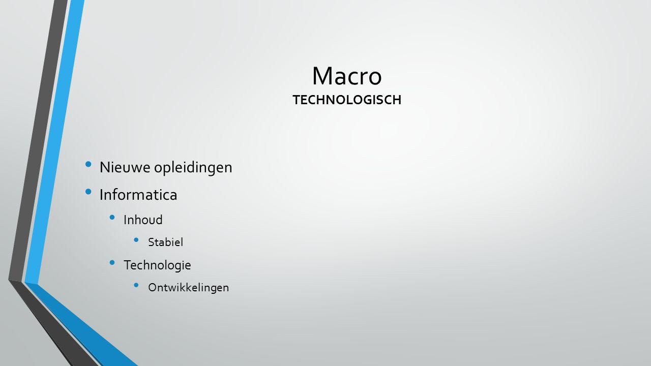 Macro TECHNOLOGISCH Nieuwe opleidingen Informatica Inhoud Technologie