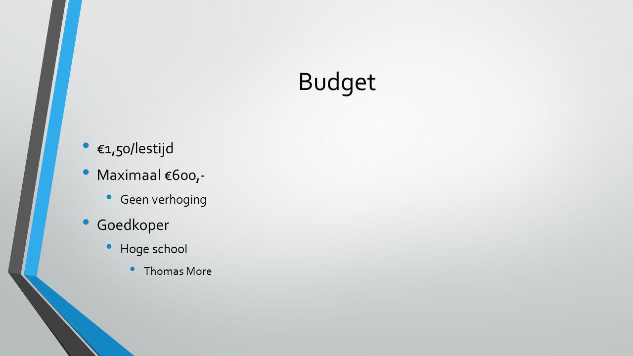 Budget €1,50/lestijd Maximaal €600,- Goedkoper Geen verhoging