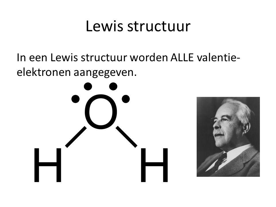 Lewis structuur In een Lewis structuur worden ALLE valentie-elektronen aangegeven.