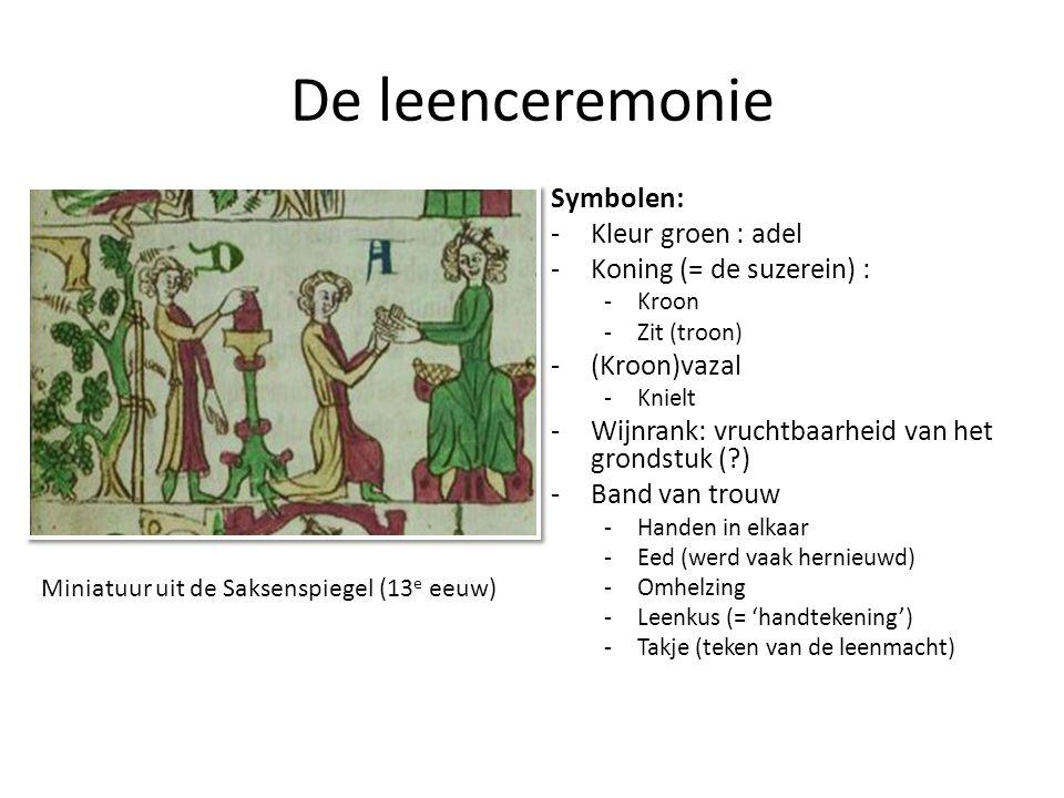 De leenceremonie Symbolen: Kleur groen : adel Koning (= de suzerein) :