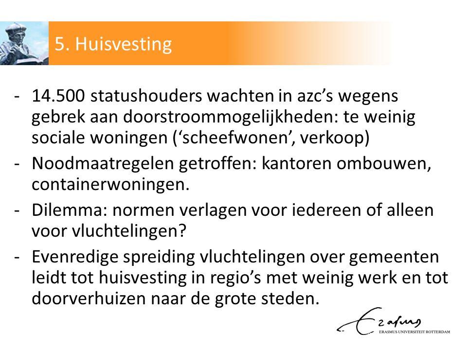 5. Huisvesting 14.500 statushouders wachten in azc's wegens gebrek aan doorstroommogelijkheden: te weinig sociale woningen ('scheefwonen', verkoop)