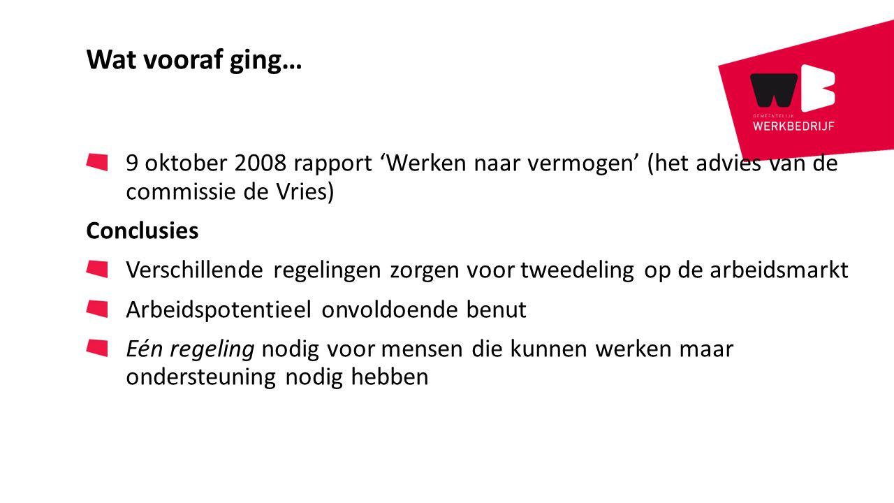 Wat vooraf ging… 9 oktober 2008 rapport 'Werken naar vermogen' (het advies van de commissie de Vries)