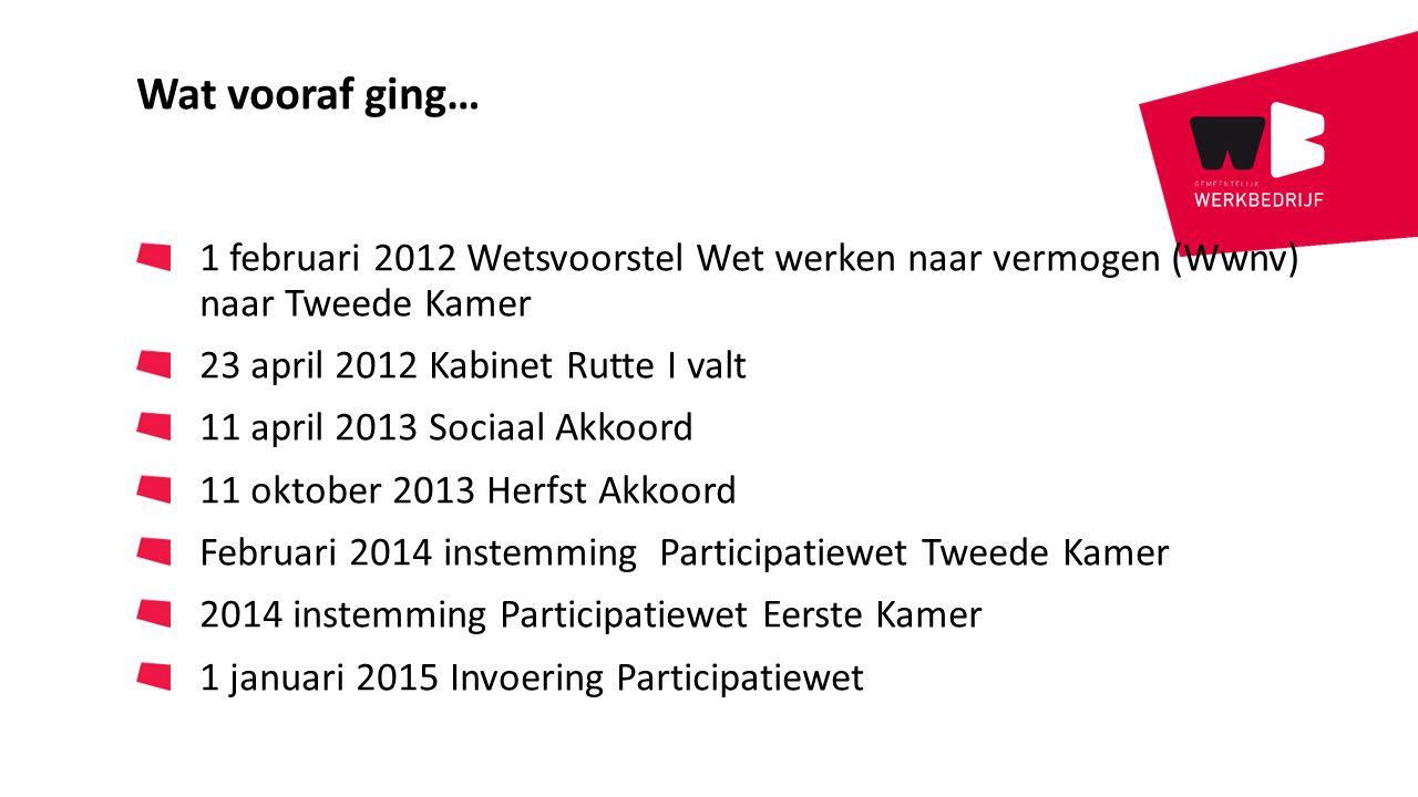 Wat vooraf ging… 1 februari 2012 Wetsvoorstel Wet werken naar vermogen (Wwnv) naar Tweede Kamer. 23 april 2012 Kabinet Rutte I valt.
