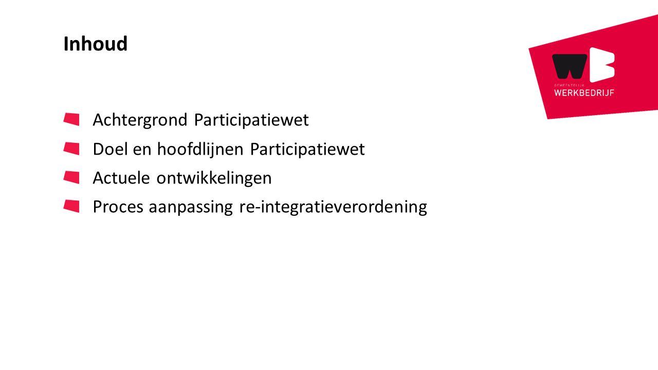 Inhoud Achtergrond Participatiewet Doel en hoofdlijnen Participatiewet