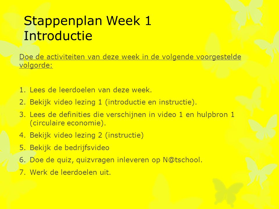 Stappenplan Week 1 Introductie