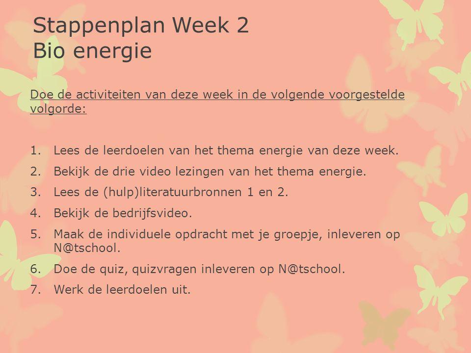 Stappenplan Week 2 Bio energie