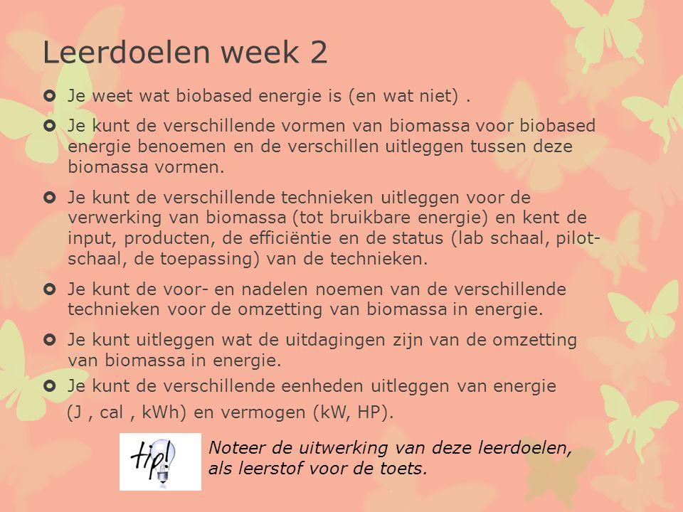 Leerdoelen week 2 Je weet wat biobased energie is (en wat niet) .