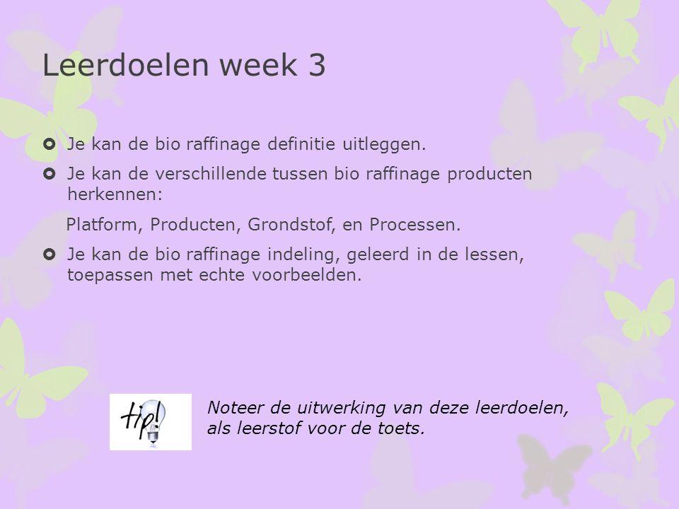 Leerdoelen week 3 Je kan de bio raffinage definitie uitleggen.