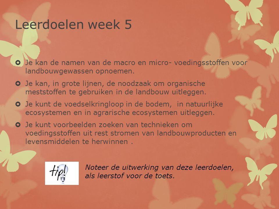 Leerdoelen week 5 Je kan de namen van de macro en micro- voedingsstoffen voor landbouwgewassen opnoemen.
