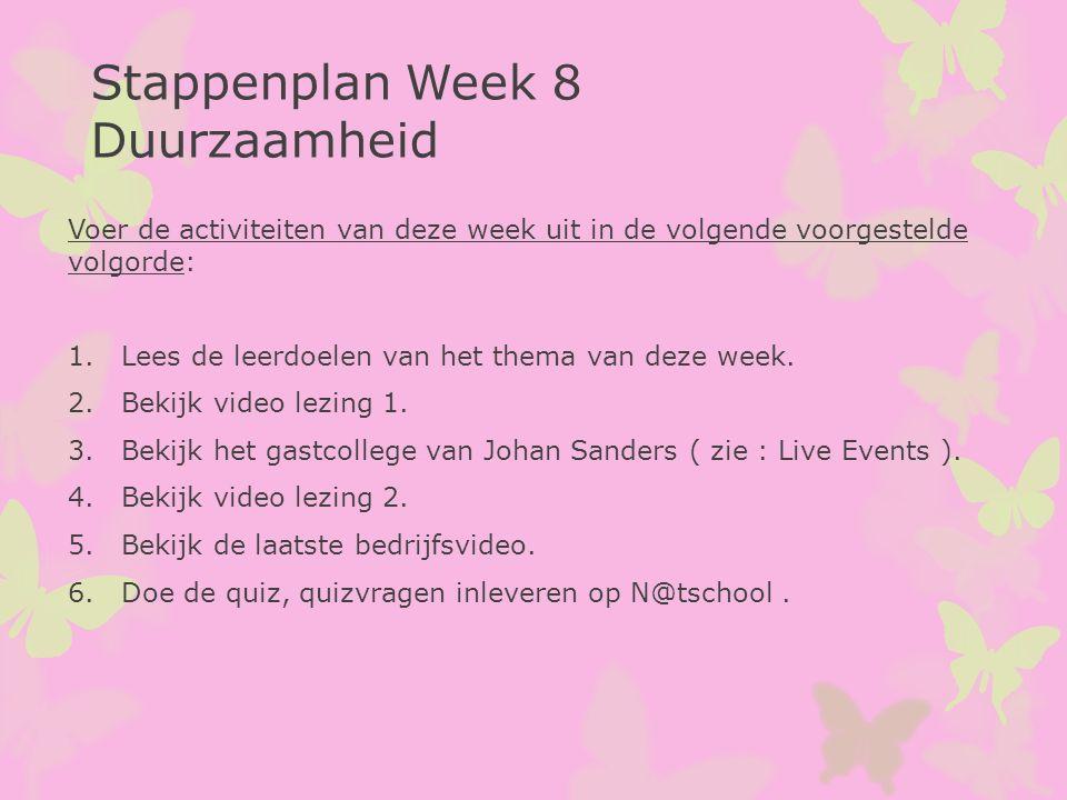 Stappenplan Week 8 Duurzaamheid