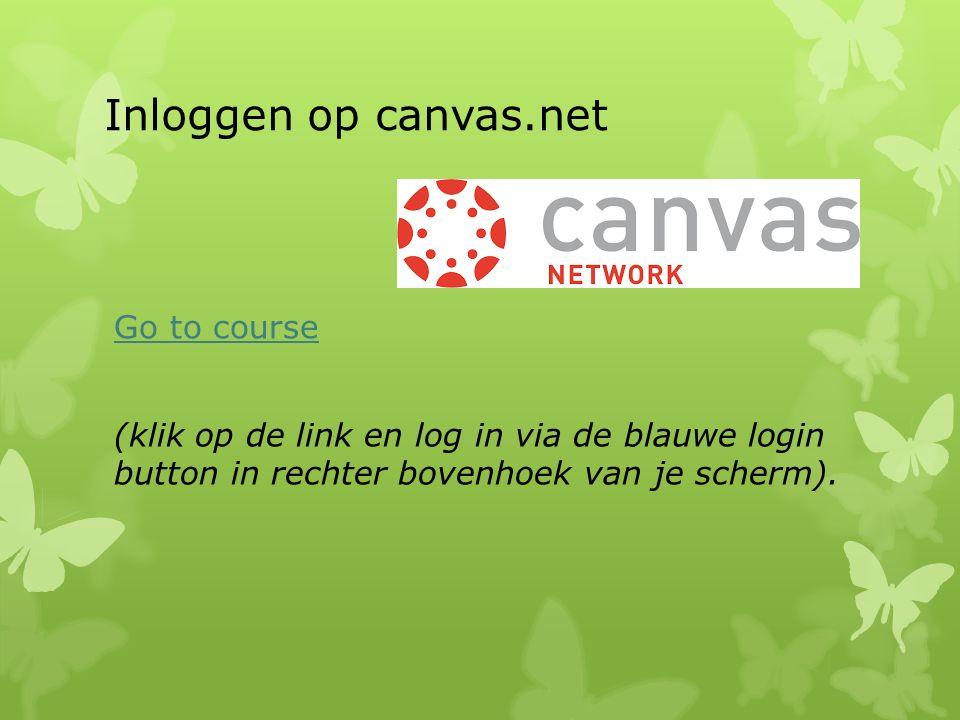 Inloggen op canvas.net Go to course (klik op de link en log in via de blauwe login button in rechter bovenhoek van je scherm).