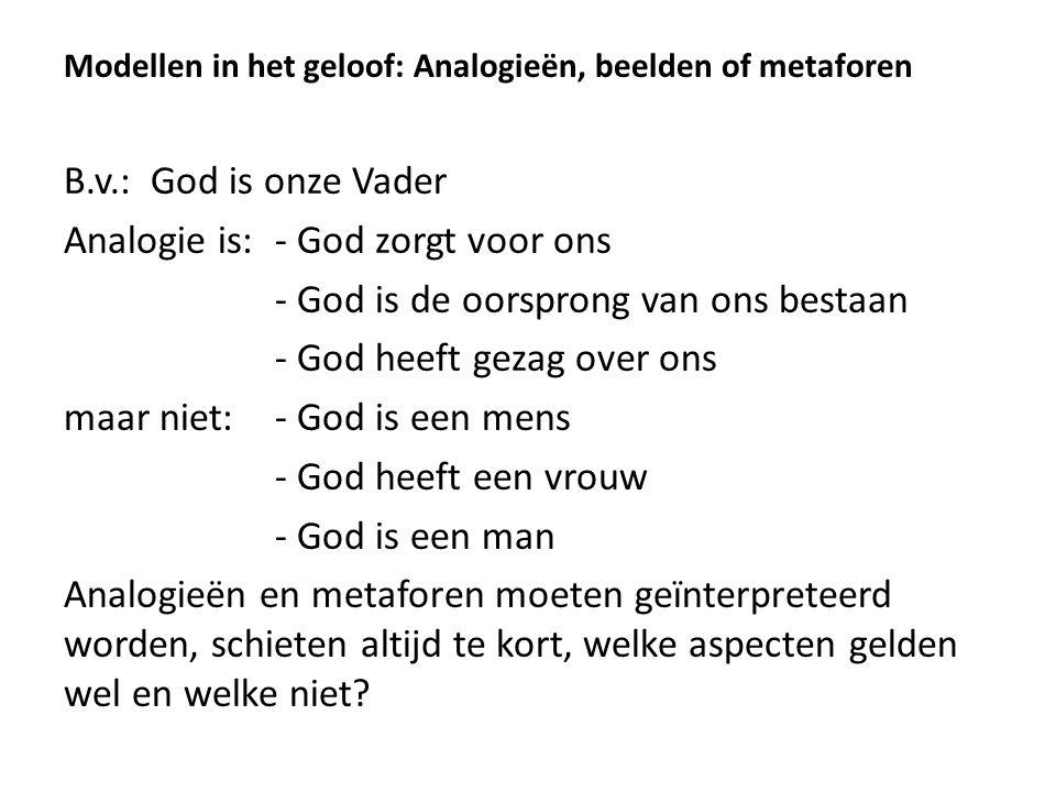 Analogie is: - God zorgt voor ons