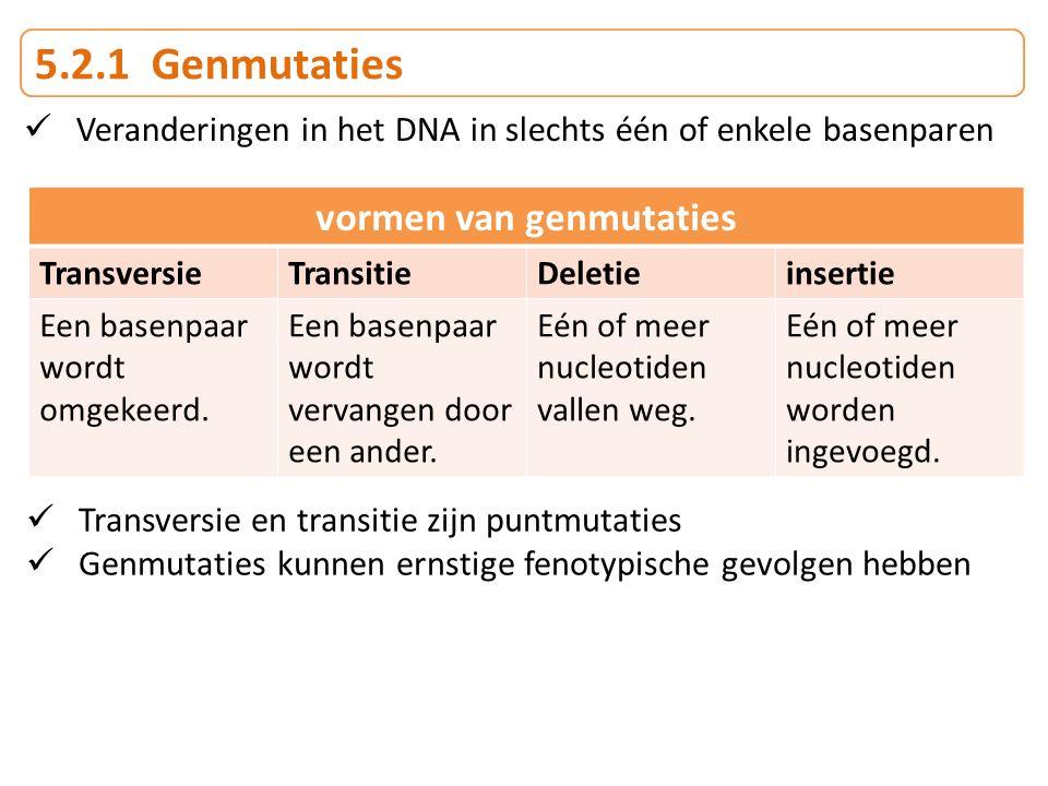 vormen van genmutaties