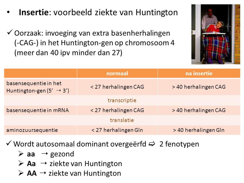 Insertie: voorbeeld ziekte van Huntington