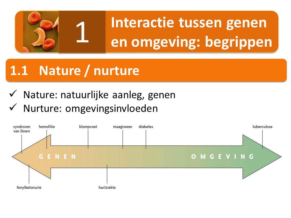 1 1.1 Nature / nurture Interactie tussen genen en omgeving: begrippen