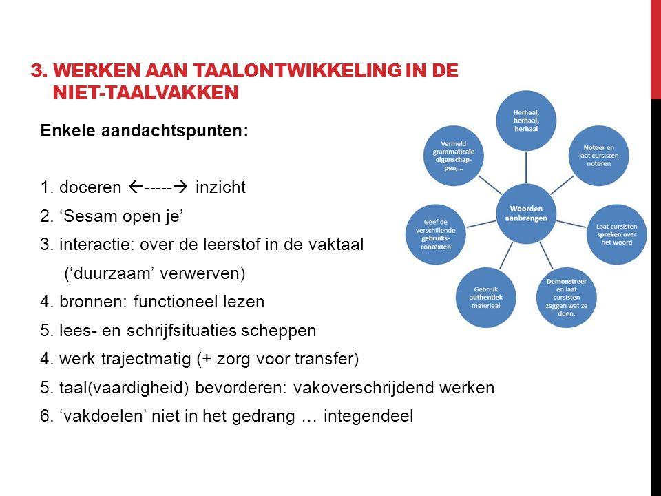 3. Werken aan taalontwikkeling in de niet-taalvakken