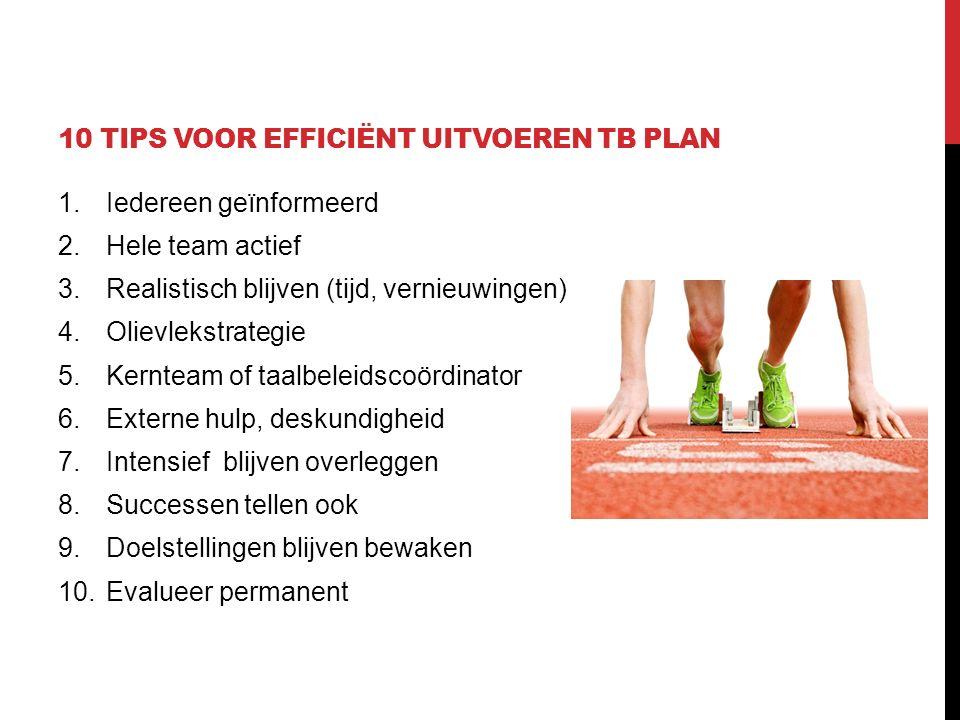 10 tips voor efficiënt uitvoeren TB plan