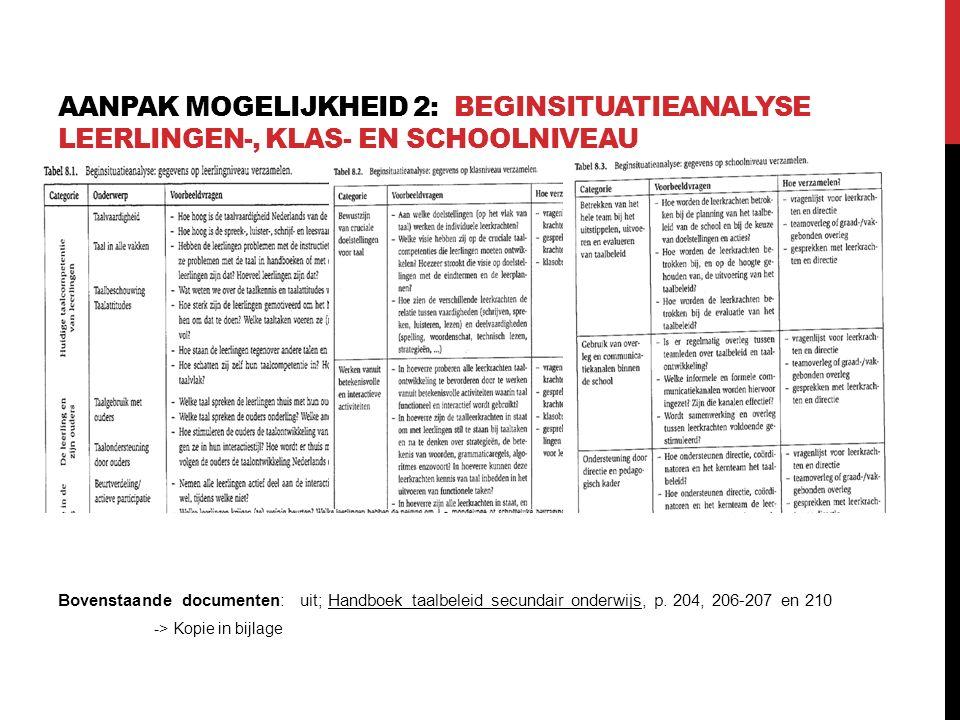 Aanpak mogelijkheid 2: Beginsituatieanalyse leerlingen-, klas- en schoolniveau