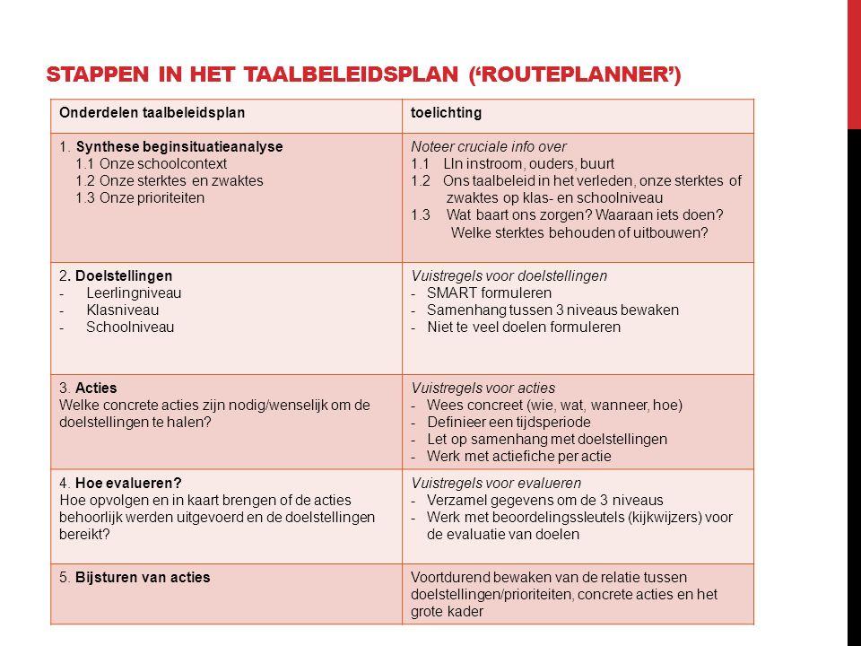 Stappen in het taalbeleidsplan ('routeplanner')