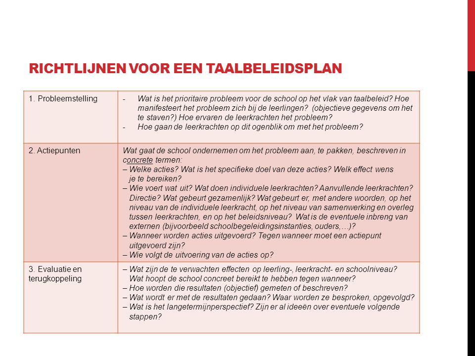 Richtlijnen voor een taalbeleidsplan