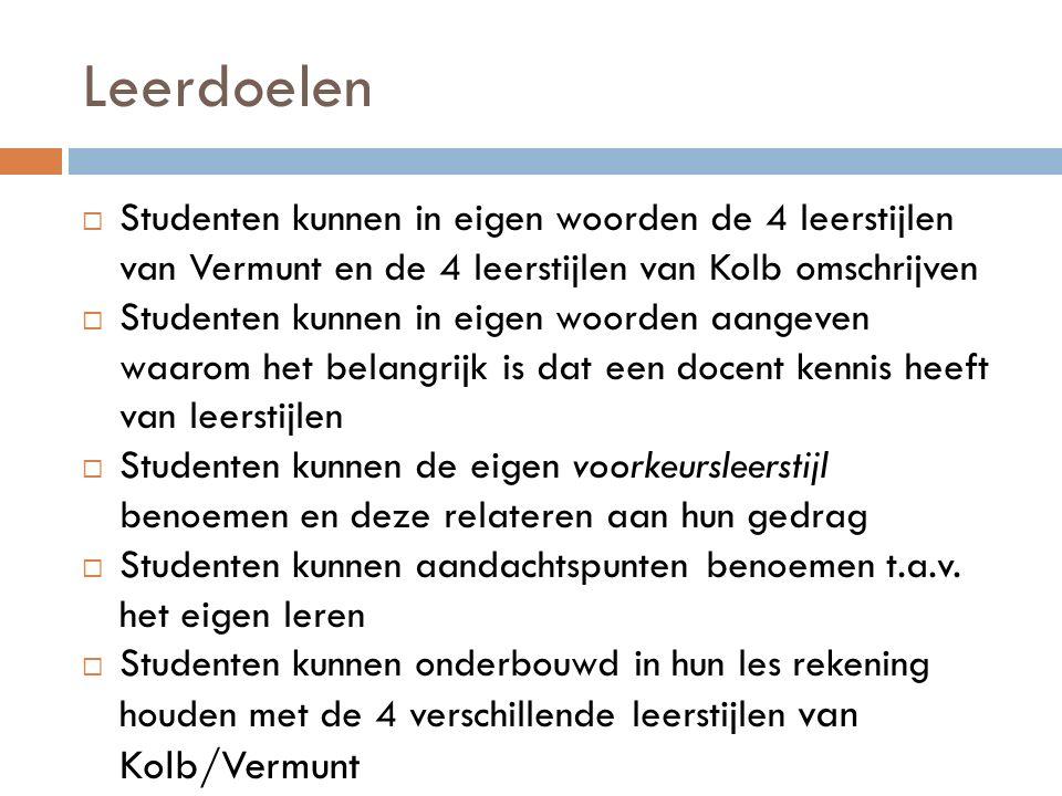 Leerdoelen Studenten kunnen in eigen woorden de 4 leerstijlen van Vermunt en de 4 leerstijlen van Kolb omschrijven.