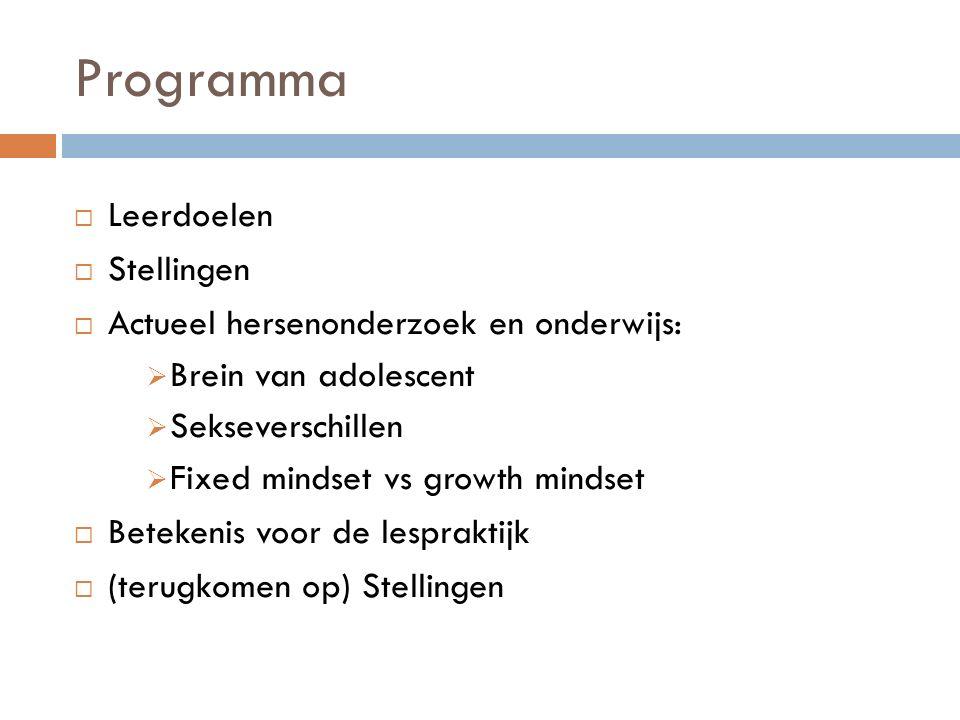 Programma Leerdoelen Stellingen Actueel hersenonderzoek en onderwijs: