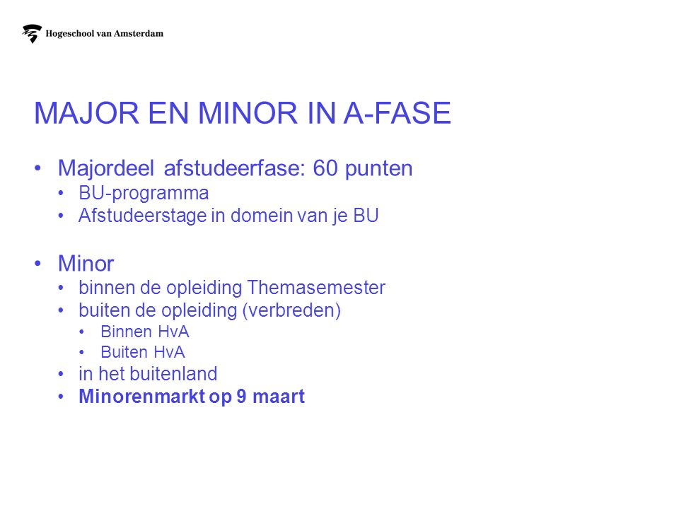 Major en minor in A-fase