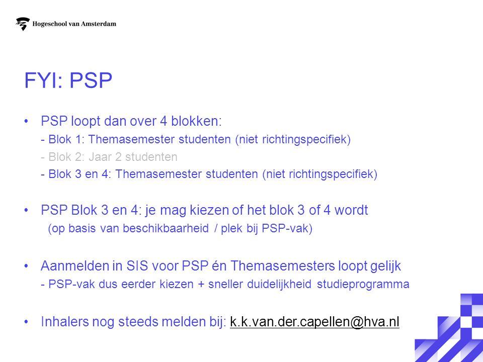 FYI: PSP PSP loopt dan over 4 blokken: