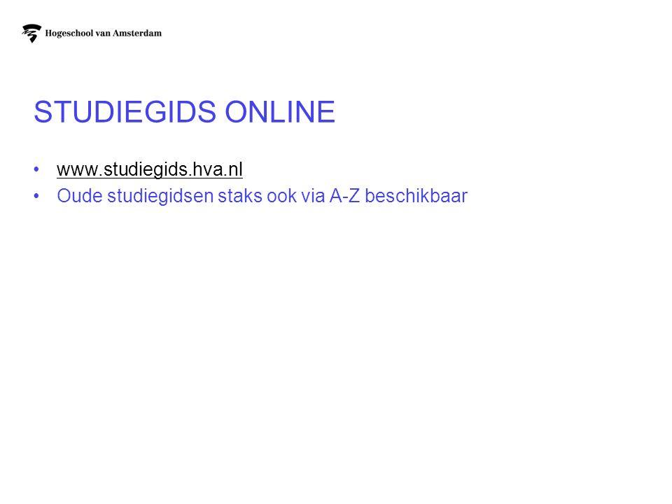 Studiegids online www.studiegids.hva.nl