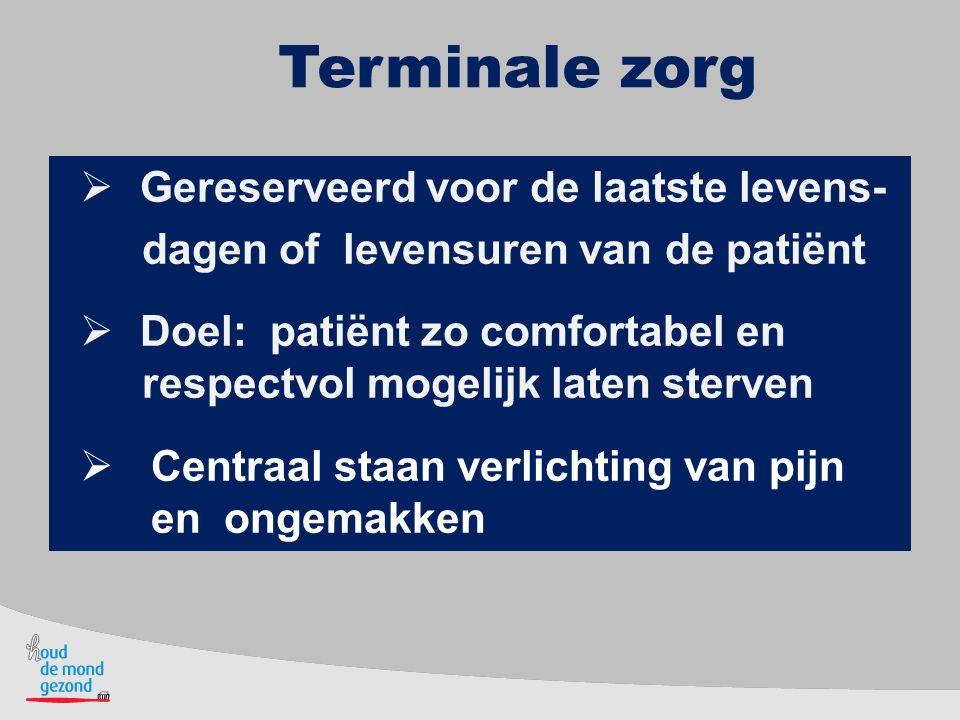 Terminale zorg Gereserveerd voor de laatste levens-