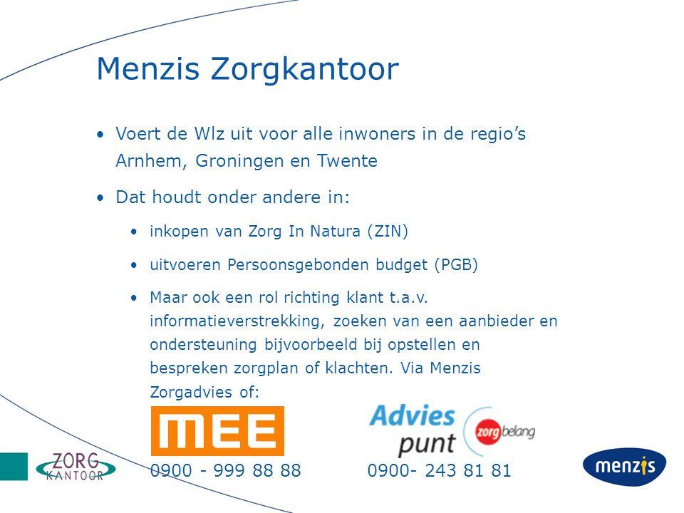 Menzis Zorgkantoor Voert de Wlz uit voor alle inwoners in de regio's Arnhem, Groningen en Twente. Dat houdt onder andere in: