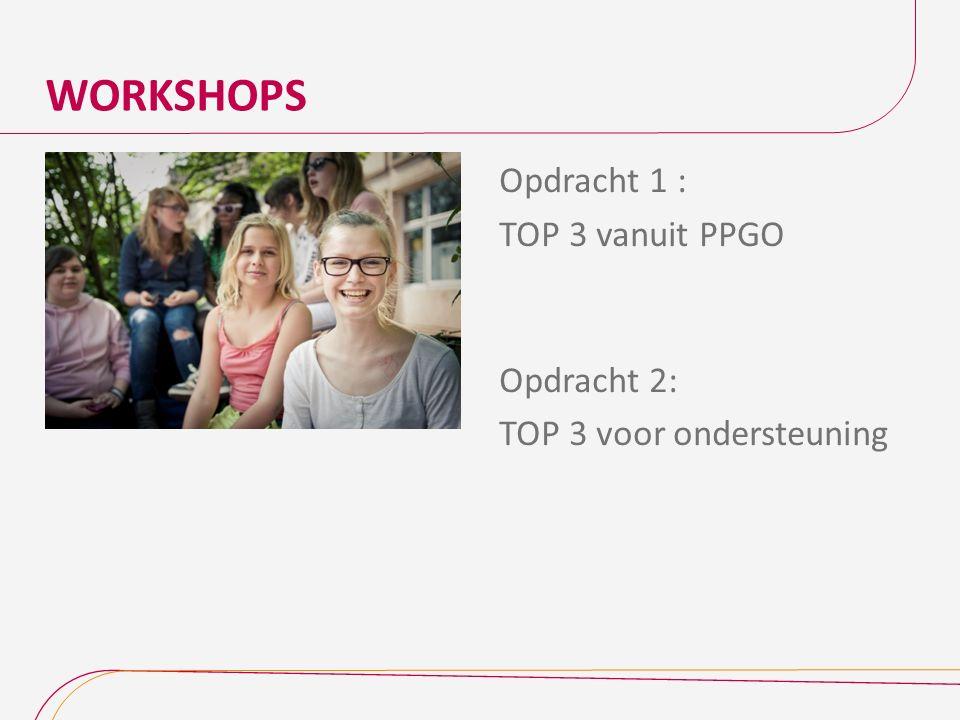 WORKSHOPS 11-12-2015 Opdracht 1 : TOP 3 vanuit PPGO Opdracht 2: TOP 3 voor ondersteuning
