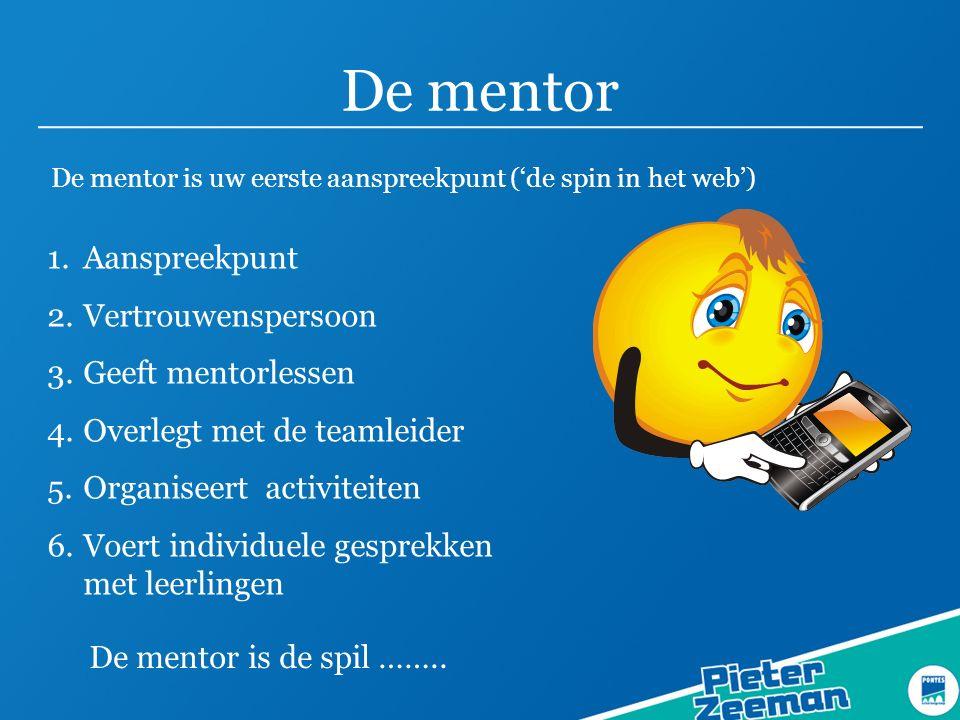 De mentor Aanspreekpunt Vertrouwenspersoon Geeft mentorlessen