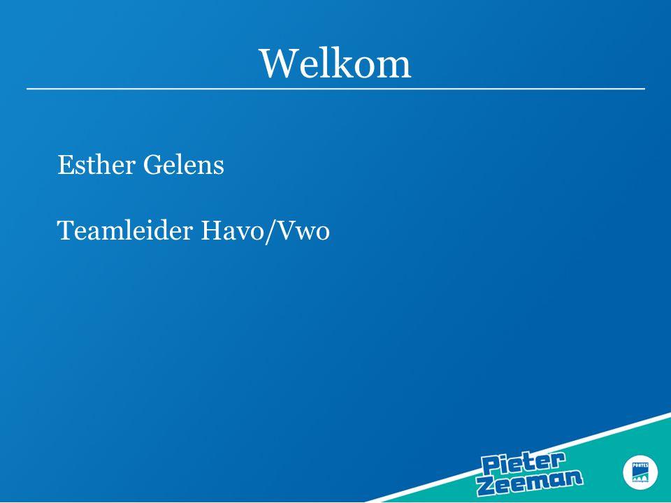 Welkom Esther Gelens Teamleider Havo/Vwo