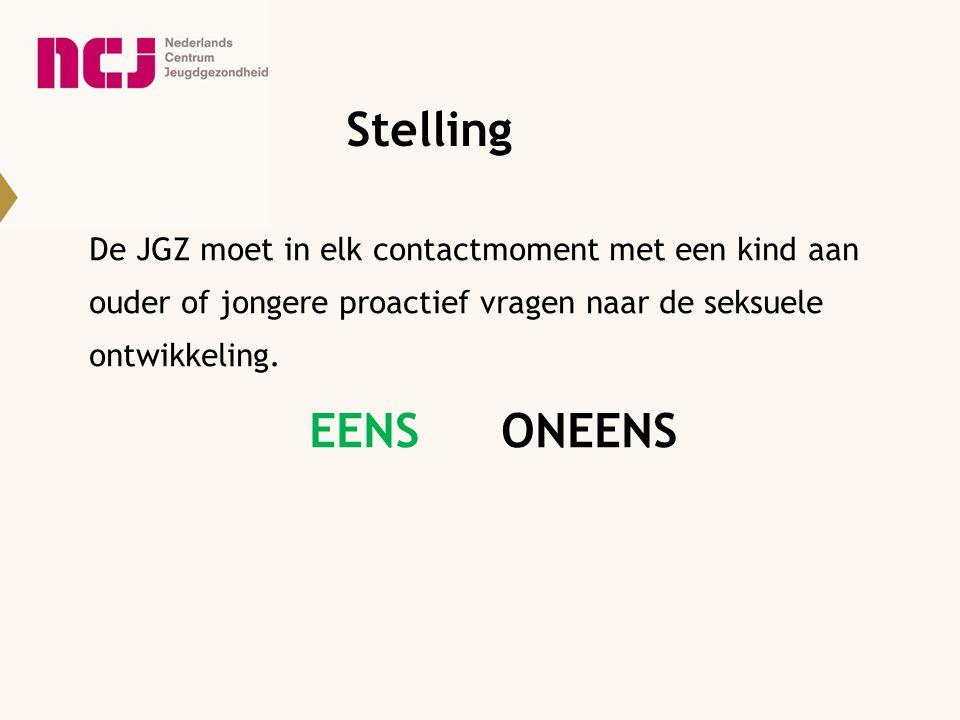 Stelling De JGZ moet in elk contactmoment met een kind aan ouder of jongere proactief vragen naar de seksuele ontwikkeling.