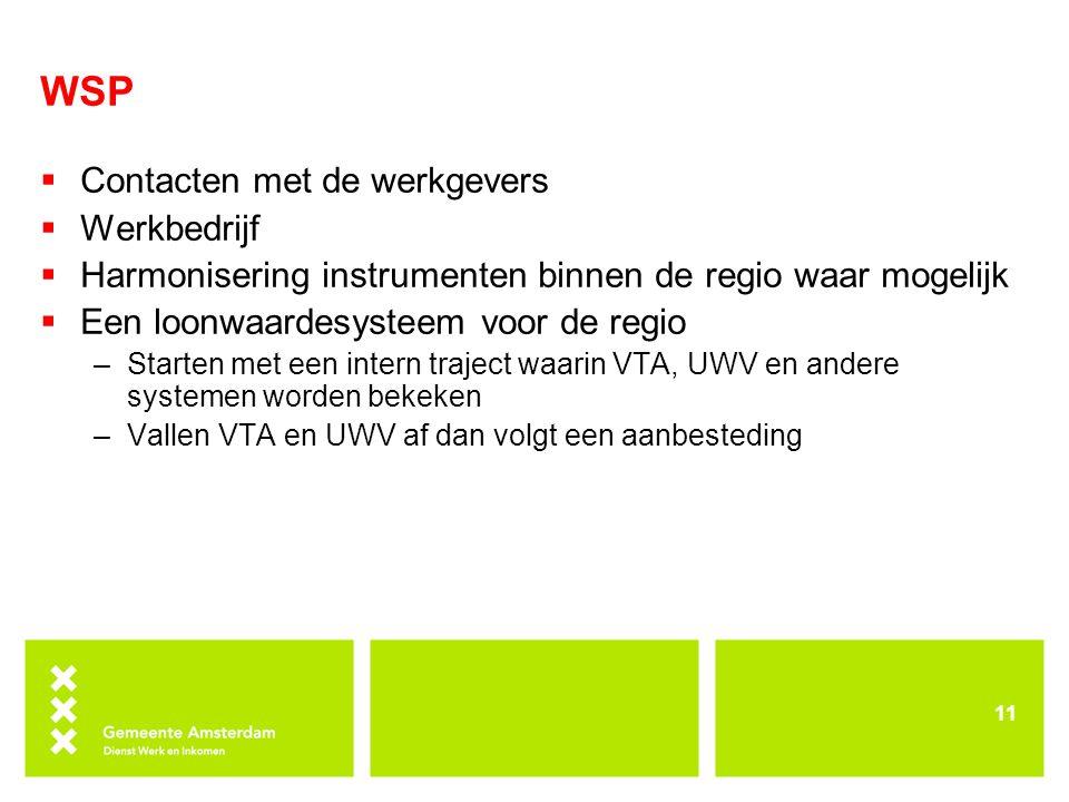 WSP Contacten met de werkgevers Werkbedrijf