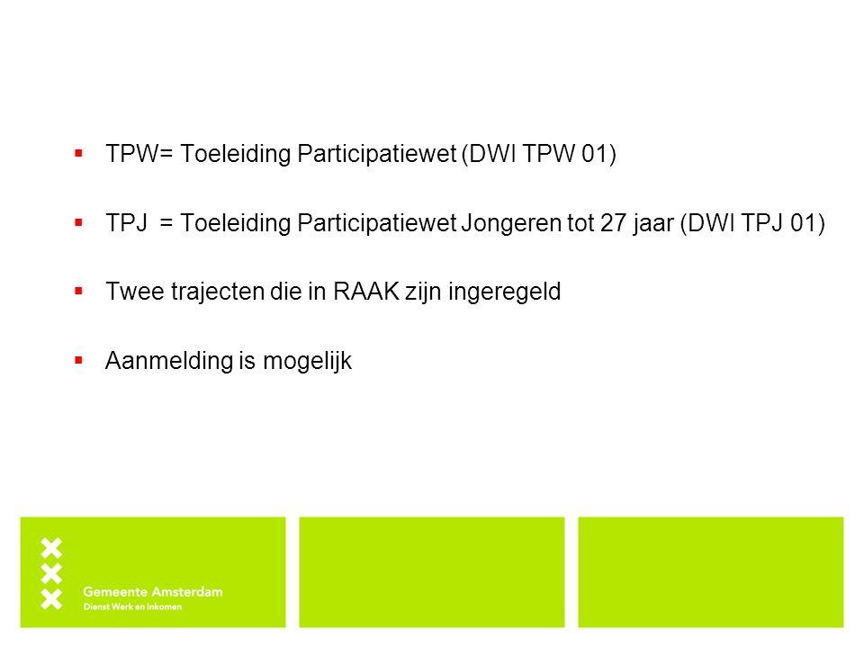 TPW = Toeleiding Participatiewet (DWI TPW 01)