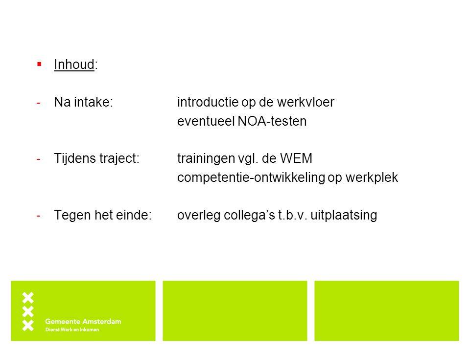 Inhoud: Na intake: introductie op de werkvloer. eventueel NOA-testen. Tijdens traject: trainingen vgl. de WEM.