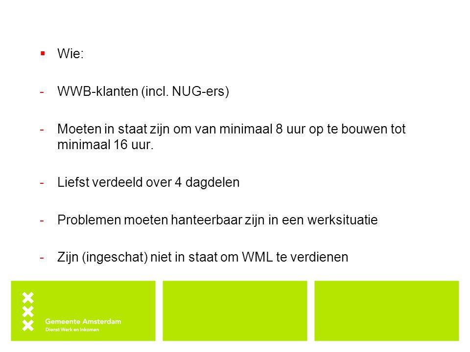 Wie: WWB-klanten (incl. NUG-ers) Moeten in staat zijn om van minimaal 8 uur op te bouwen tot minimaal 16 uur.