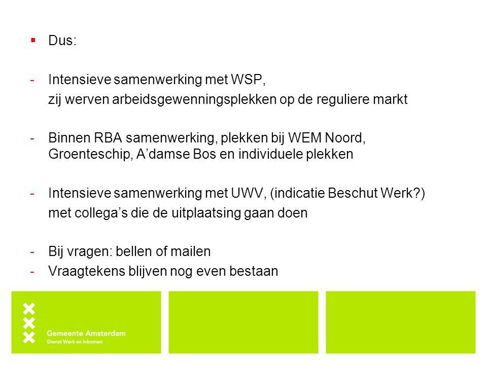 Dus: Intensieve samenwerking met WSP, zij werven arbeidsgewenningsplekken op de reguliere markt.